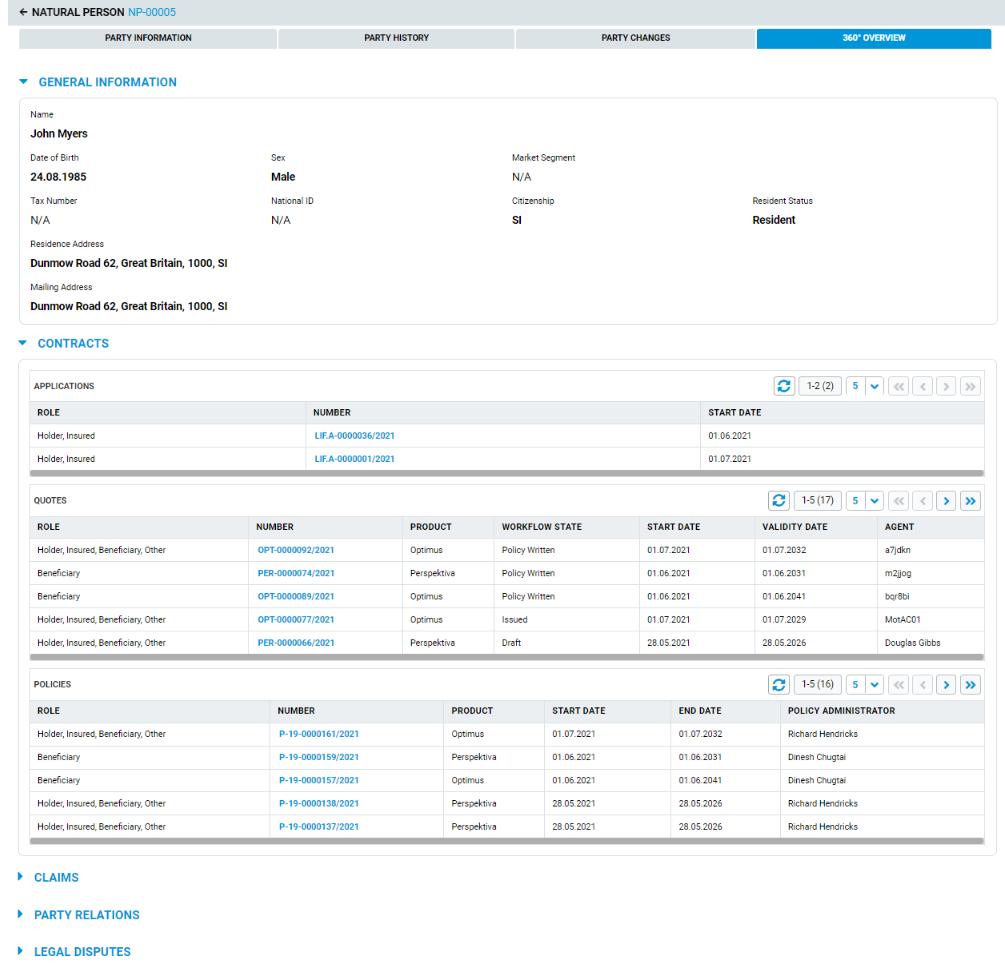 Screenshot of 360 view of party data in AdInsure