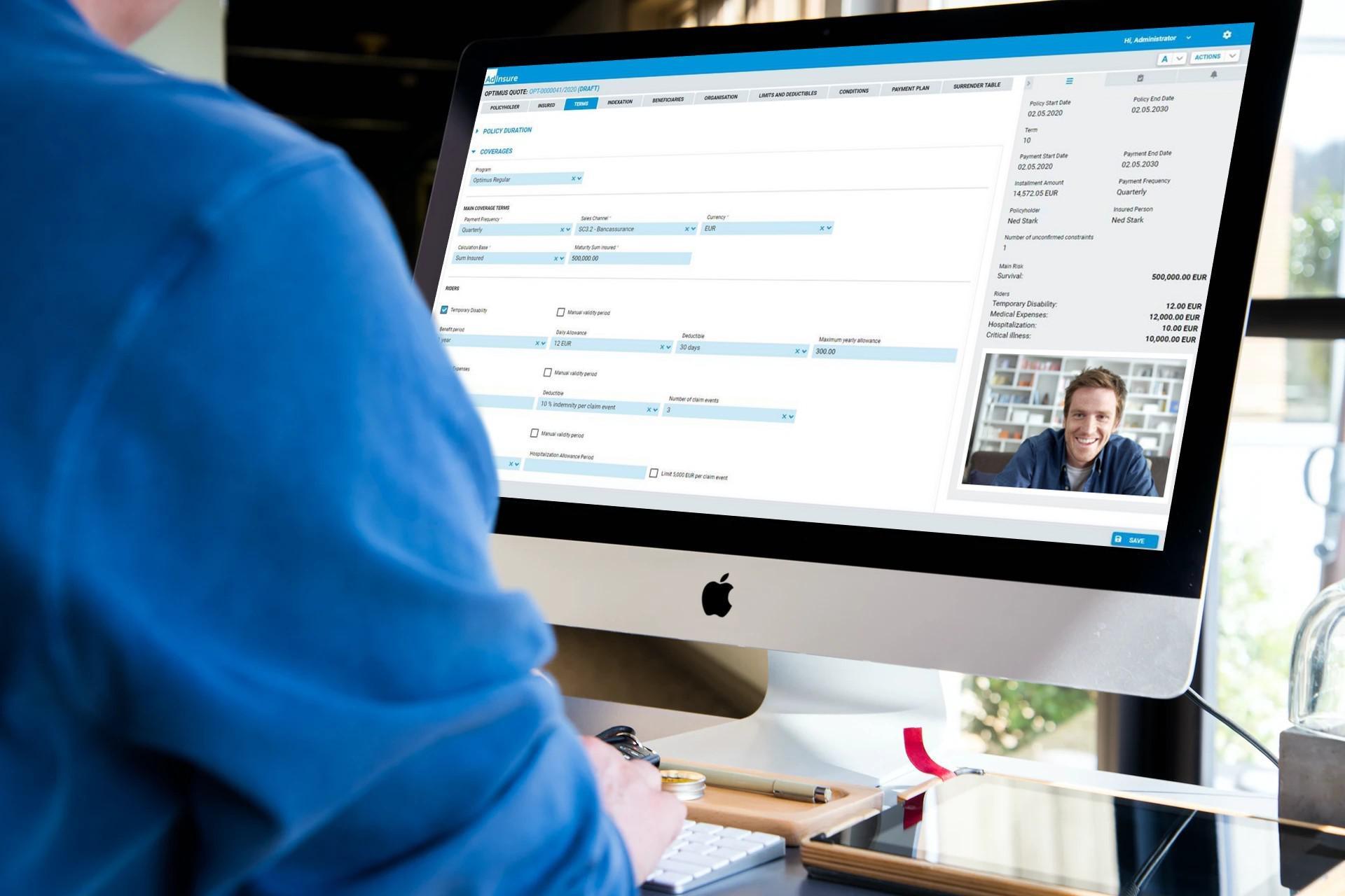 Person communication through video call on AdInsure Agent Portal